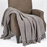 Home Soft Things Space Yarn Knitted Throw Blanket, 50'' x 60'', Charcoal Grey, Comfortable Snuggly Warm Gorgeous Throw Blanket Fall Blanket Couch Sofa Bed Cover Home Décor