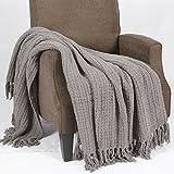 家用软的东西空间针织扔沙发套沙发毯,50' x 60',炭灰色