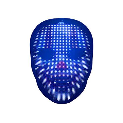 KEBEIXUAN LED Maske Intelligente Leuchtende Maske DIY Benutzerdefinierte Muster für Karneval,Nachtclub, Musikfestival, Tanzen, Partyzubehör (USB-Aufladung)