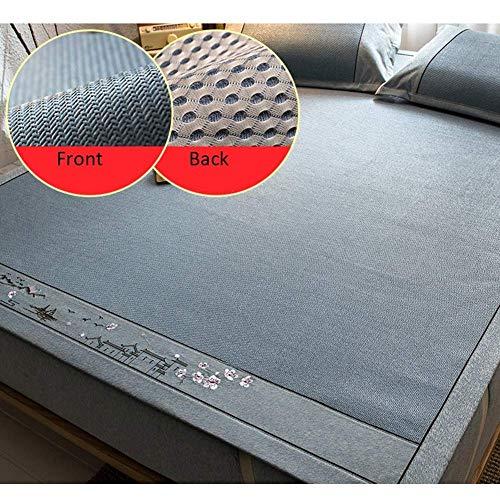 ZXL Cooling Topper Matrassen Zomer Mat Slapen Matrassen Rotan Gras Glad Koel Ademend Opvouwbaar Gemakkelijk op te bergen Slaapzaal Kussen Slaapkamer Cover - Blauw (Kleur: A, Maat: 120X200CM)