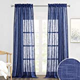 RYB HOME Curtains for Living Room - Linen Texture Sheer Curtains Farmhouse Country Curtains for Patio Sliding Glass Door French Door Bedroom Dining, Navy Blue, 52 x 95 inches, 2 Panels