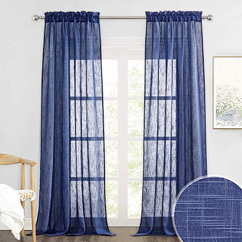 RYB HOME Semi Sheer Curtains - Linen Textured Sheer Light Glare Filter Extra Long Curtains Backdrop for Living Room Patio Door French Door Wall Decor, Navy Blue, 52 x 120 in per Panel, 1 Pair