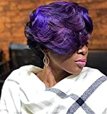 Ombre Brown Pixie Wig Short Layered Natural Synthetic Wig with Bangs Short Ombre burgundy Pixie Cut Hair Wigs For Women Short Wigs For Black Women African American Women Wigs  (Black Purple)
