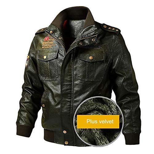 Herren Fliegerjacke Leder Vintage Bomber Patch Jacke Bikerjacke mit Reißverschluss Smart Casual Coat Winter warm,Green-2XL