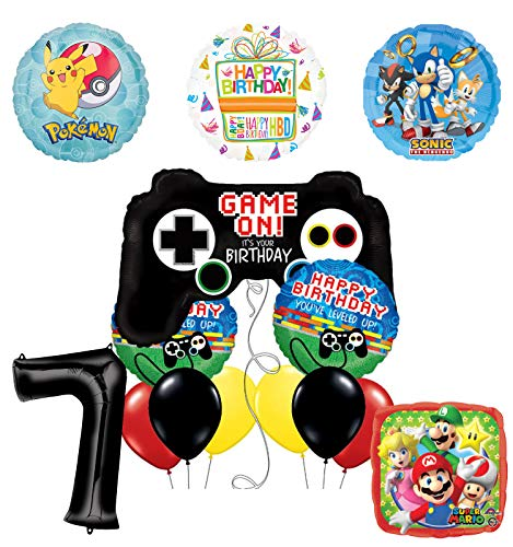 The Ultimate Video Game 7th Birthday Party Supplies and Balloon Decorations (Sonic, Super Mario and Pokemon)