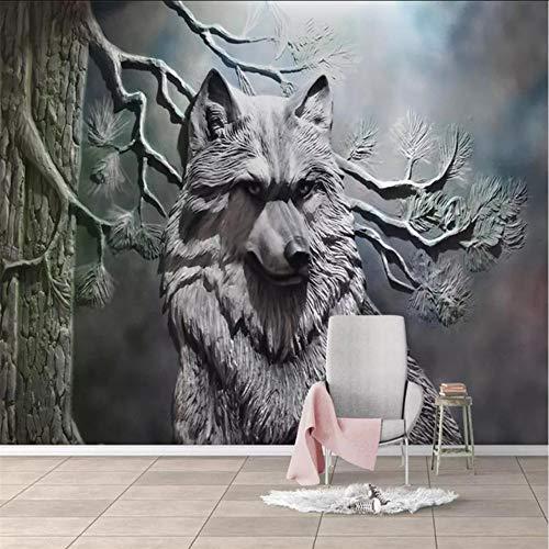 Pbbzl 3D-muurschildering, 3D, stereo, bos, Lupo achtergrond, decoratie voor de muur. 250x175cm