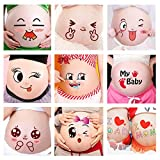 ALINILA 12 Sheets Face Pregnant Belly Bump, Belly Casting Kit Pregnancy Gifts for Pregnant Women Facial Expressions Pregnancy Baby Bump Belly Stickers Maternity Week Stickers