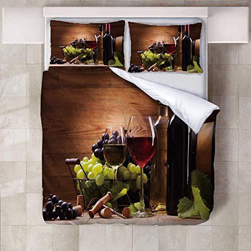 GenericBrands Juego Funda Nórdica Vino Juego de Funda de Edredón Super Suave, Apto para Cualquier Dormitorio, con 2 Fundas de Almohada, tamaño personalizable-180x200cm