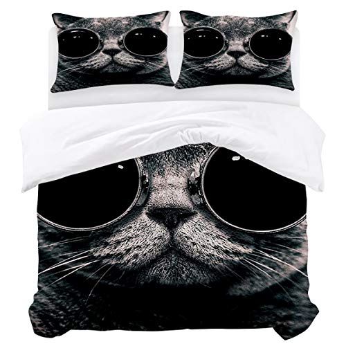 Olivefox Modern Reversible Bedding Duvet Cover Set with 3pcs:1 x Duvet Cover 2 x Pillowcases Fashion Cat Wearing Sunglasses Queen Easy Care Comforter Cover Durable Bedding Set