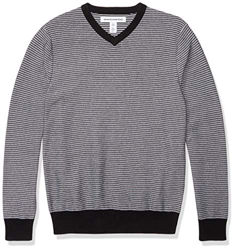 Amazon Essentials Men's V-Neck Sweater, -Black/White Stripe, Medium