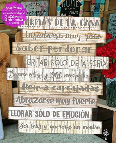 """Cuadro de madera con frases y mensajes positivos e inspiradores para decorar el hogar y regalar""""Normas de la casa"""" Personalizado"""