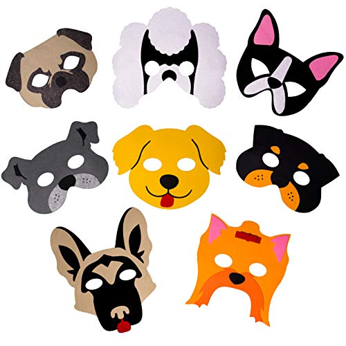 Dog Masks for Dog Themed Birthday Party Supplies, 8 Best Quality Felt Masks, Great Puppy Dog Party Favors for Kids Novelty Dress-up and Halloween