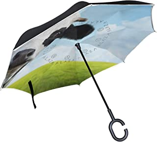 TropicalLife Double Layer Inverted Umbrella Funny Animal Cow Reverse Umbrella