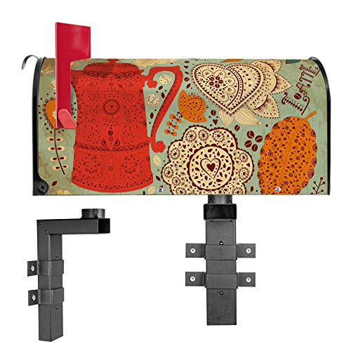BANJADO US Mailbox | Amerikanischer Briefkasten 51x22x17cm | Letterbox Stahl schwarz | mit Motiv Indischer Kaffee | inklusive Wandhalterung