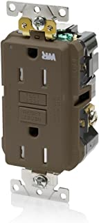 Leviton G5262-WT 15A-125V Extra-Heavy Duty Industrial Grade Weather/Tamper-Resistant Duplex Self-Test GFCI Receptacle, Brown, 15-Amp