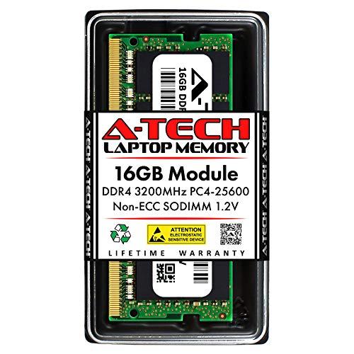 A-Tech 16GB DDR4 3200MHz SODIMM PC4-25600 Non-ECC Unbuffered CL22 1.2V 260-Pin SO-DIMM Laptop Notebook Computer RAM Memory Upgrade Module