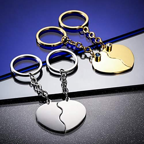 MeMeDIY Personalisiertes Paar Schlüsselbund Set Geburtsstein Gravur Name/Datum für Frauen Männer Freund Freundin Edelstahl Passendes Herz Puzzle Charme Schlüsselring Liebhaber Beziehung Geschenk