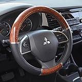 BDK Two-Tone 14.5' - 15.5' Woodgrain Pattern Dark Wood Steering Wheel Cover (Black)