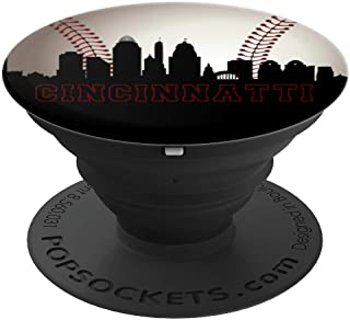 Downtown Cincinnati Baseball Fan Ohio Skyline Art City Gift - PopSockets Grip and Stand for Phones and Tablets