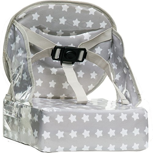 Baby-To-Love Easy Up, Rehausseur chaise Bébé Compact et Nomade (White Stars)