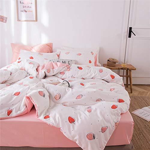FenDie Bettwäscheset für Mädchen, Doppelbett, weiche Baumwolle, wendbar, Erdbeer-Druck, Bettbezug Weiß Pfirsich mit 2 Kissenbezügen, hautfreundlich, bequem