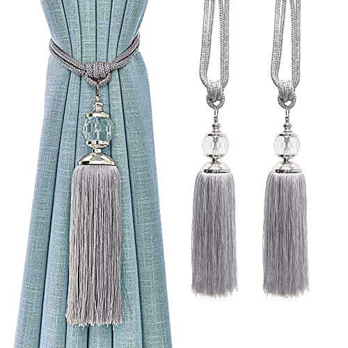 KOLAKO - Alzapaños de cortina con borla de cuerda, color plateado para cortinas decorativas, alzapaños de cristal hecho a mano, 2 unidades