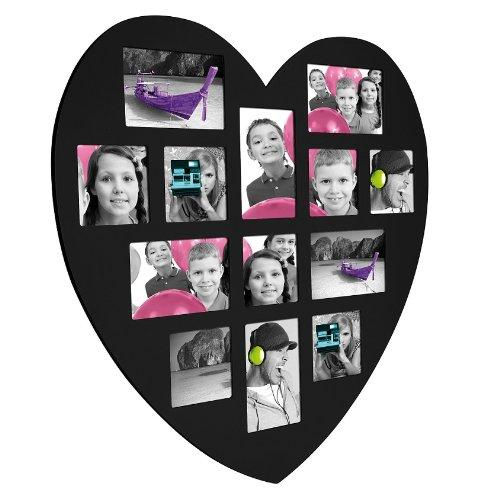 Cadre coeur 13 photos en bois noir