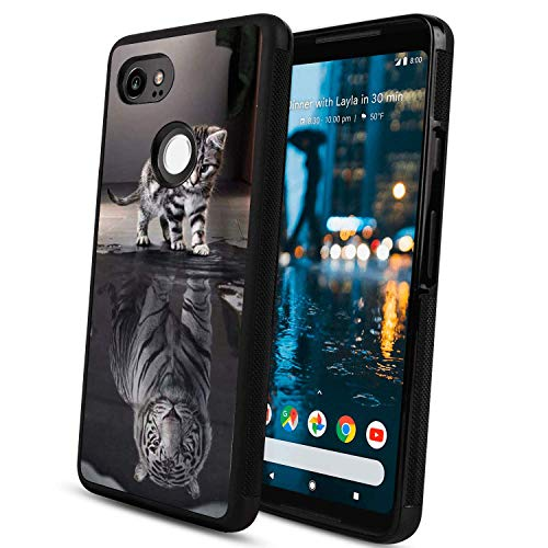 Cat Tiger Baby Google Pixel 2 Phone Case, Shockproof Soft TPU Premium PC Protective Customized Design Bumper for Google Pixel 2-Black