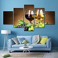 アートパネル モダン インテリア アート キャンバス絵画 ワイン HDプリント絵画 ペインティング リビングルーム ベッドルーム 家の装飾 北欧 壁絵 アートフレーム(5枚セット)