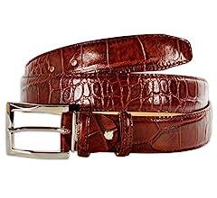 PASQUALE CUTARELLI Mens Crocodile Pattern Italian Leather Belt Black Small 32 Inches
