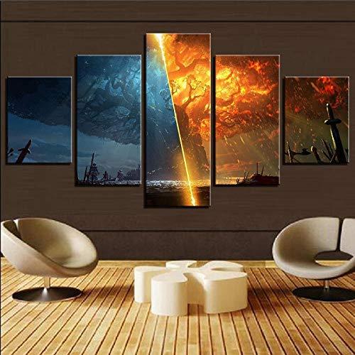 ZDDBD 5 Pezzi Teldrassil Burning World of Warcraft Battle for Azeroth Gioco Poster Pittura su Tela Immagine di Arte della Parete per la Decorazione Domestica
