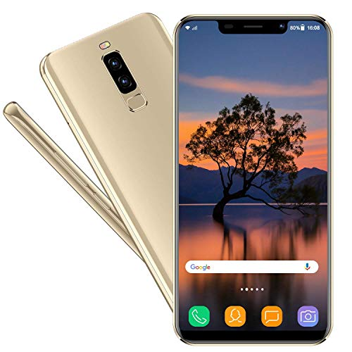 Smartphone Libres V mobile S9 5.85 Pulgada Batería 3800mAh 16GB ROM 2GB RAM Moviles Libres 3G+ Android 7 Quad Core Ofertas del Dia Dual Cámara 13MP 5MP Face ID Dual SIM GPS (Oro)