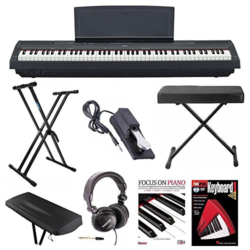 Yamaha P-125B 88-Key Weighted Action (GHS) Digital Piano (Black) Bundle with Knox Double X Stand, Knox Wide Bench,...