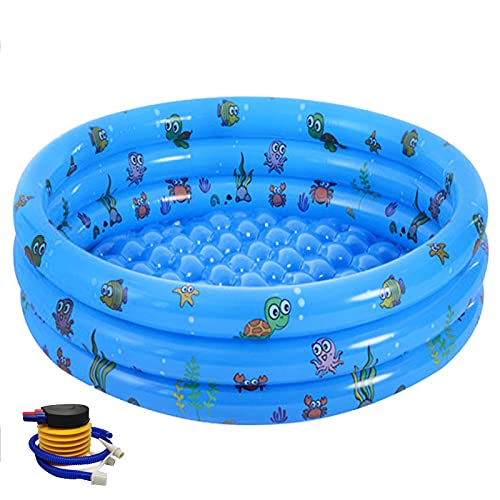 Inflatable Pool Jsdoin Foldable Kids Paddling Pool with Air Pump Outdoor Swimming Pool for Backyard Home, Garden, Summer Safety Non-Slip Outdoor Bathing Pool