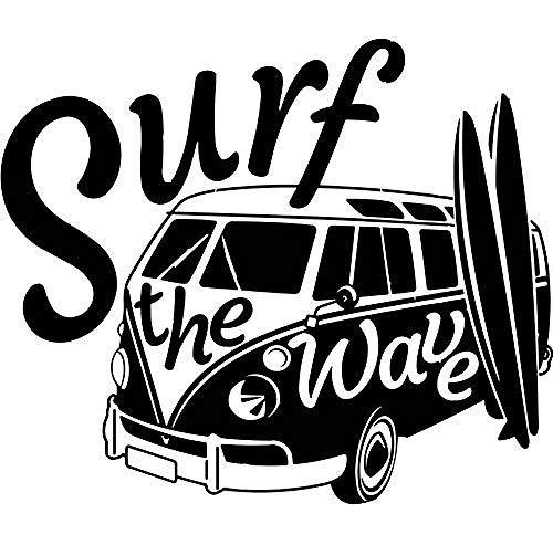 Wall Stickers Decal Modern Surf The Wave With Camper Car Old Vintage Auto Car Wall Mural Camper Van Wall 50X42Cm