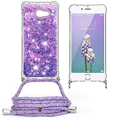Mkej Glitter Liquid Quicksand Flow mobiele telefoon ketting compatibel Samsung Galaxy A5 2017 siliconen shell [nekband] glitter cover, stijlvolle super praktische gepersonaliseerde crossbody case - bloem paars