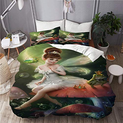 DAHALLAR bedding-Duvet Cover Set,Fantasy Mushroom Butterfly Elf Princess Frog Prince Fairy Tale World Cartoon Scenery,Microfibre 230x220 with 2 Pillowcase 50x80,King