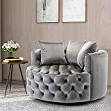 Pannow Swivel Barrel Chair, Modern Akili Swivel Accent Chair, Velvet Round Barrel Chair for Home Living Room/Modern Leisure Chair with 3 Pillow (42.9 Inch, Silver Grey)