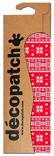 Decopatch - Pack de 3 Hojas de Manualidades, diseño de Copos de Nieve y Mosaico, Color Rojo y Blanco