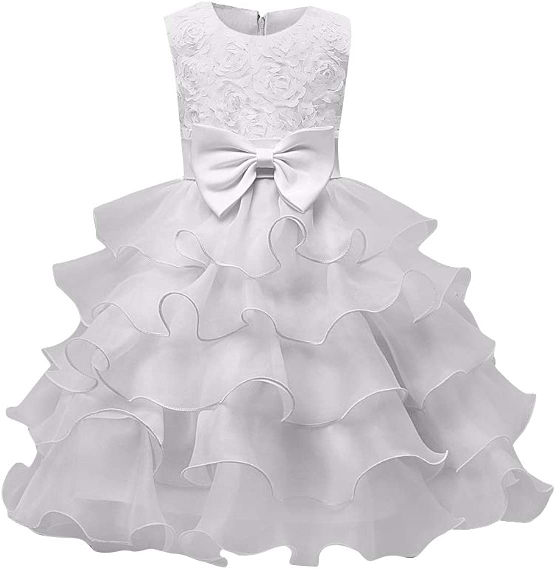 YMING Girl Ball Gown Sleeveless Ruffle Lace Pageant Wedding Party Dresses Tulle Tiered Princess Tutu Gowns
