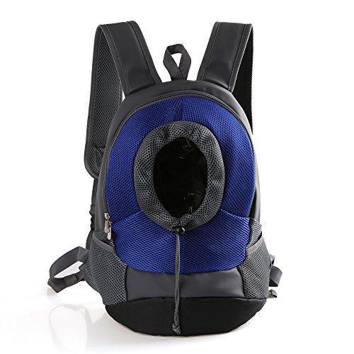 RC GearPro Mochila portátil para Mascotas, diseño de Cabeza hacia afuera, Ajustable, para Gato, Perro, Viaje, Bolso de Hombro Delantero, fácil de Ajustar para Viajar, Caminar, Acampar (S, Azul)