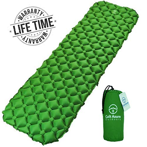 Camping Sleeping Pad – Mat (large)  Ultralight, Inflatable, Compact and Durable Air Mattress   Best Portable Folding Camp Sleep Pad for Hiking, Hammock, Tent and Backpacking   NEW Thick 40D Nylon
