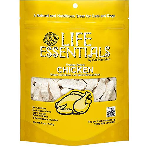 LIFE ESSENTIALS By Cat-Man-Doo All Natural Freeze Dried Chicken For Dogs & Cats - No Fillers, Preservatives, or Additives -- Grain Free Tasty Treat -- 5 Oz Bag -- Made in USA