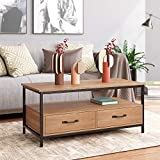HOMECHO Coffee Table for Living Room, Rustic Cocktail Table with Bidirectional Drawers, Sofa Center Table with Storage Shelf, Wood and Metal Frame, Rustic Brown