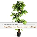 COSTWAY Zimmerpflanze Deko, Kunstpflanze grün, Dekopflanze künstlich, Kunstbaum Pflanzendekoration Innendekoration für Zuhause Garten Büro (160x19x19cm) - 2