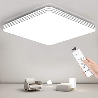 Plafón Led Techo Cuadrado Regulable con Mando a Distancia, 24W Lámpara para Habitación Cocina Salón Dormitorio Infantil, 3000K-6500K, Superficie 33cm