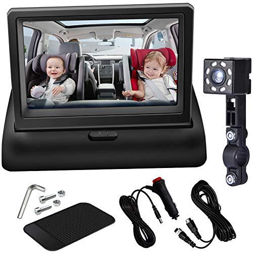 Universal Car Rücksitzspiegel für Baby, Reer Babyphone mit Kamera, Splitterschutzfolie, Einstellbar Autospiegel für Babyschale und Reboarder, Schwarz