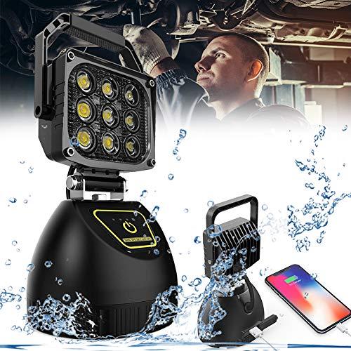Foco LED Portátil, Luz De Trabajo con Magnéticas Base, Proyector De LED Rotación 120°, Impermeable IP67 LED Magnético Barbacoa Luz, Luz De Inundación, Exterior Proyector Lámpara De Camping