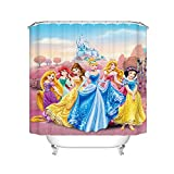 Fgolphd Duschvorhang Disney Princess Meerjungfrau Arielle 120x200 180x200180x180 200x240 Textil Bunt Pink Badezimmerteppich 4-teiliges Set Shower Curtains (200 x 240 cm,8)