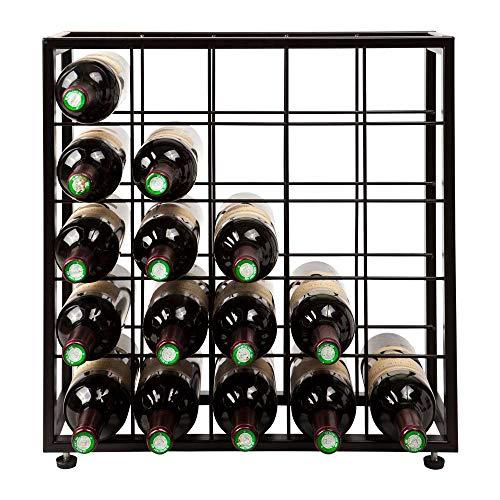 Vinikea Weinregal mit Platz für 25 Flaschen Wein aus schwarzem Metall Schönes und modernes Weinregal im klassischen und rustikalen Design.